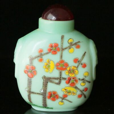 Chinese Exquisite Handmade old Beijing Glaze draw Flower Snuff Bottles 40048