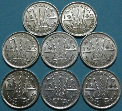 MIXED LOT 8 AUSTRALIA Silver Three Pence VF to AU Cond. King George VI.