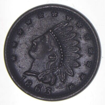1863 Indian Head Civil War Token - Charles Coin Collection *965