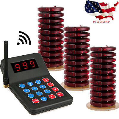 Restaurant Food Shop Wireless Call Customer Paging System Keypad+30Coaster Pager