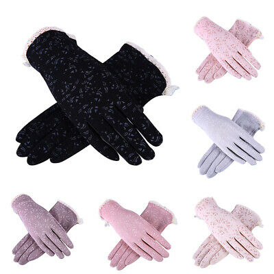 Women Driving Gloves Summer Anti UV Sun Protection Lace Touch Screen Mittens Uti