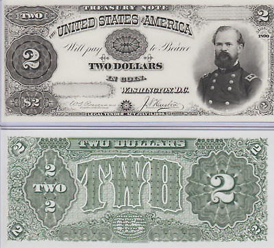 2 Proof Prints or Intaglios by BEP of Face & Back of 1890 $2 Treasury Note