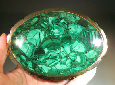 "4.6"" Nice Green Handmade MALACHITE CRYSTAL Bowl, Gemstone from Congo *9088"