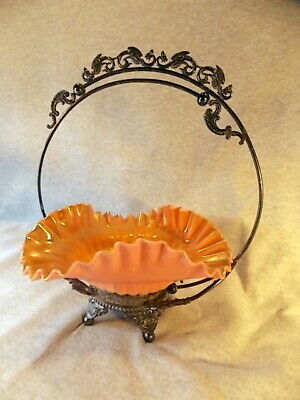 Antique Brides Basket Peach Blow Bowl Ruffled & Quilted Opalescent