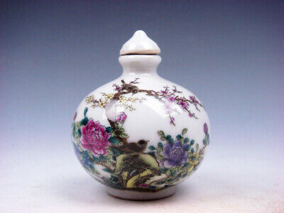 Famille-Rose Glazed Porcelain Snuff Bottle Lovely Birds Plum Blossoms #03162008