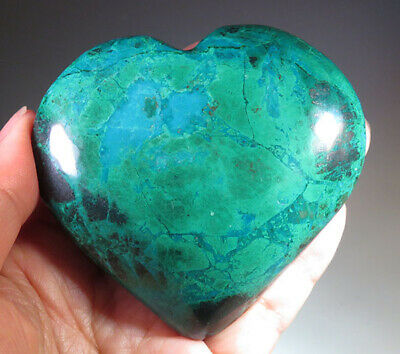 "3.05"" Large Natural Chrysocolla with Malachite CRYSTAL Gemstone Heart *9001"