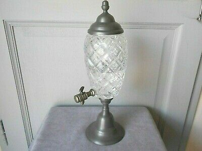 1950s Vintage French spelter Cutted Glass ABSINTHE FOUNTAIN