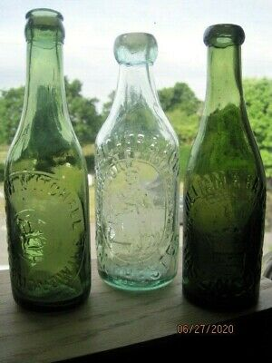Three Edwardian Pictorial Mineral Water Bottles