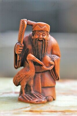 Vintage Signed Carved Wood Chinese Netsuke Standing Ancient with Fan & Stork