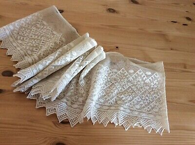 Antique Complete Cotton Flounce In French Hand Embroidery Tambour Lace 88""