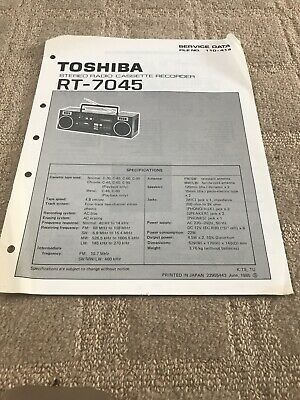 Toshiba RT-70045 service manual For Stereo Radio Cassette Recorder