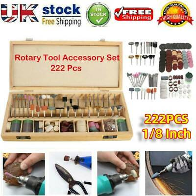 1/8 Inch 222pcs Shank Rotary Tool Accessories Bit w/ Wood Storage Box for Dremel