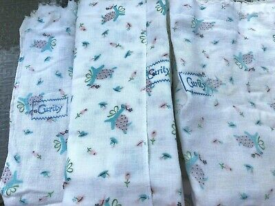 3 Vintage Curity Turtle Print Cloth Diapers