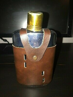 Vintage Griffon Glass Flask in Leather Case