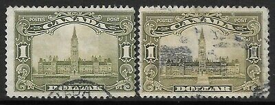 CANADA 1928-29 $1 both shades, used faults.  SG 285/285a. Cat.£185.