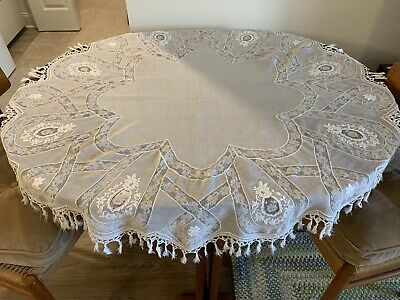"Lovely Imperfect Antique Normandy Lace 46"" Round Tablecover Tablecloth"