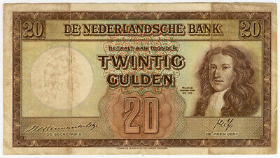 Netherlands 1945 Issue King William Iii 20 Gulden Rare Note Avf.pick#76.