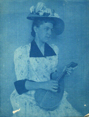 1910s photograph Blue Print image portrait of a lady playing a lute