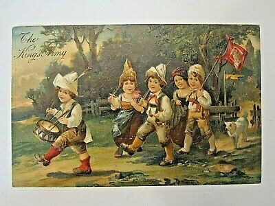 1908 patriotic postcard-KING'S ARMY-children marching w/flag-embossed relief