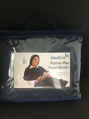 Airplane Travel Blanket Comfort Warm Sleep Plush PonchoStyle Navy Travelrest New