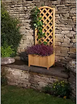 Large Lattice Wooden Garden Flower Planter with Trellis - Garden Outdoor Indoor