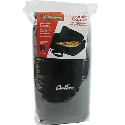 """Casserole Carrier Camerons Black Polyester Casserole Tote, Fits 10"""" x 16"""" Dish"""