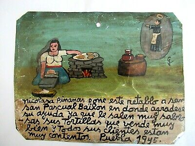 Vtg 1945 Rustic Mexican Hp Tin Retablo San Pascual Bailon Woman Sells Tortillas