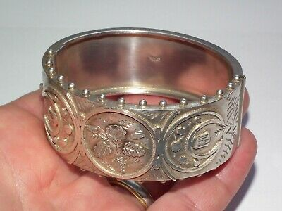 V Scarce Solid Sterling Silver Antique 1880 Victorian Ladies Bangle Beautiful!