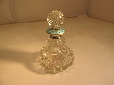 solid silver & enamel and cut glass scent bottle  london 1929