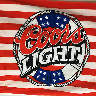 Coors Light Beer 4' Towel Patriotic W/Built In Carrying Red White And Blue Rare