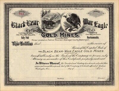 BLACK BEAR-WAR EAGLE GOLD MINES INC     1899? stock certificate