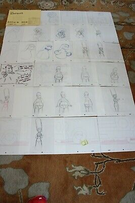 Rare The Simpsons Tv Show Original Storyboards Set Used Sketches Drawing 527