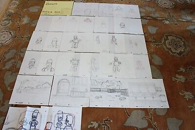 Rare The Simpsons Tv Show Original Storyboards Set Used Sketches Drawing 528