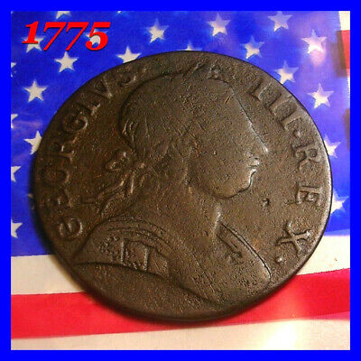1775 GEORGE III HALF PENNY COLONIAL 1st Year Of AMERICAN REVOLUTIONARY WAR  COIN
