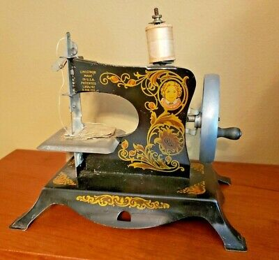 Lindstrom's Little Miss Child's Toy Working Sewing Machine, Orig Instruct Fabric