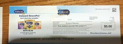 $25 Enfamil Infant Baby Formula Coupons Checks Exp 6/30/20 Neuropro