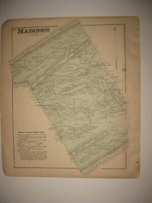 Antique 1877 Madison Township Liverpool Perry County Pennsylvania Handcolor Map