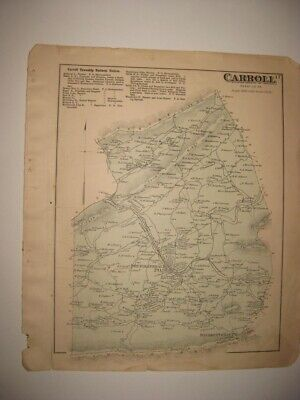 Antique Carroll Centre Township New Bloomfield Perry County Pennsylvania Map Nr