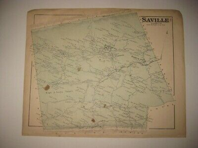 Antique 1877 Saville Township Ickesburg Perry County Pennsylvania Handcolor Map