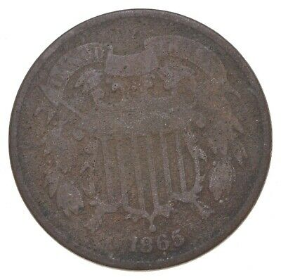 **TWO CENT** 1865 US TWO 2 Cent Piece - 1st Coin with In God We Trust Motto *679