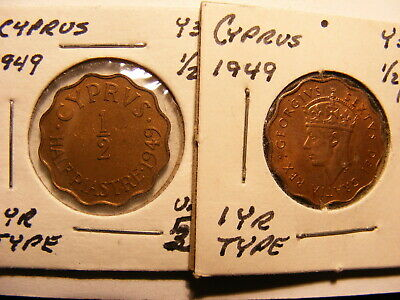 Cyprus 1949 1/2 Paistre, KM#29, Uncirculated with a little luster, One Year Type