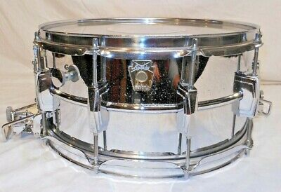 "Vintage 1990's Ludwig LM411 Chrome Plated 6-1/2 x14"" Super Sensitive Snare Drum"