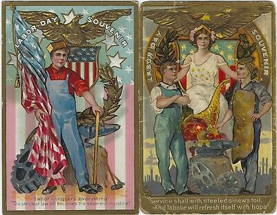 Labor Day - Rare two card set from early 1900's
