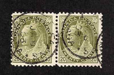 Canada #84 20 Cent Olive Green Queen Victoria Numeral Issue Pair Used