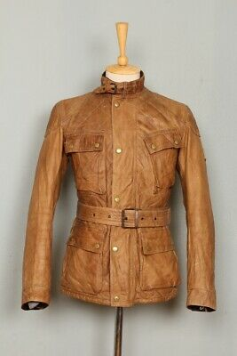 Stunning BELSTAFF 1966 Panther Brown Belted Motorcycle Leather Jacket XSmall 34