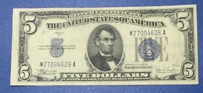 1934C $5 Blue SILVER Certificate X626 Old US Money!