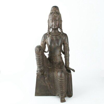 Chinese Antique Copper Gilded Guanyin Statue with Base
