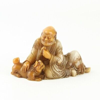 Chinese Antique Carved Shoushan Stone Arhat and Animal Statue