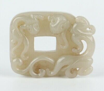 Chinese Antique Nephrite Hetian Jade Carved chilong Board Statue