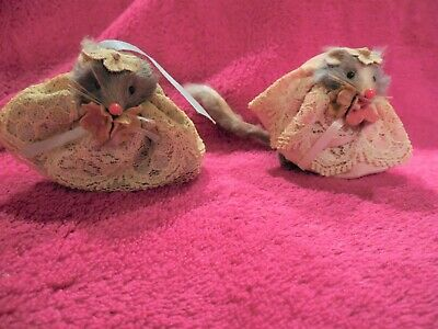 Vintage Set of 2 Little Mouse Factory Figures Flowers on Head Lacy Dresses